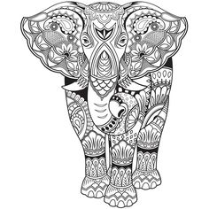 177 Best Elephant Coloring Pages for Adults images ...