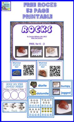 free rocks printable with QR codes, rock sorting pages to print, math center, and pocket chart cards for rock attributes and names