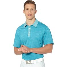 Puma Heather Stripe Cresting Golf Polo Shirt (5375 RSD) ❤ liked on Polyvore featuring men's fashion, men's clothing, men's shirts and men's polos