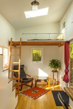 The Light-Filled Hikari Box Tiny House on Wheels! Hikari Box Tiny House Living Area and Guest Loft from Shelter Wise and PAD Tiny Houses Home Interior Design, House Design, Tiny House Interior Design, Loft House, Small House Plans, Small Room Design, Interior Design, House Interior