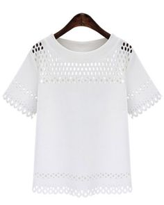 Stylish Jewel Neck Short Sleeve Openwork T-Shirt For Women
