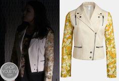 Shop Your Tv: Pretty Little Liars 4x01 Mona's Mixed Print Floral Biker Jacket #Nordstrom #PrettyLittleLiars