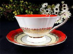 Elizabethan Teacup and Saucer Orange Banded by TheVintageTeacup