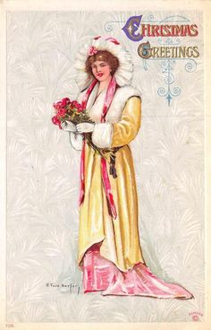 CHRISTMAS GREETINGS Woman & Roses ca 1910s Vintage Ruth Ford Harper Art Postcard