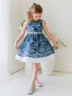 Flower Girl Dress Floral Lace and Taffeta Dress with Gem BeltNavy Blue Party Dress Special Occasion Dress Fabulous Floral Lace and Taffeta Dress with Gem Embellished Belt – Navy Blue [br] Blue Party Dress, Girls Party Dress, Baby Dress, Dress Girl, Lace Flower Girls, Flower Dresses, Cute Dresses, Girls Holiday Dresses, Special Occasion Dresses
