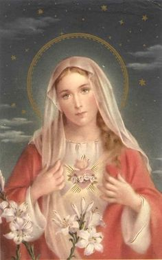 Immaculate Heart of Mary, Queen of Heaven Blessed Mother Mary, Blessed Virgin Mary, Religious Pictures, Religious Art, Jesus E Maria, Simple Prayers, Queen Of Heaven, Sainte Marie, Holy Mary