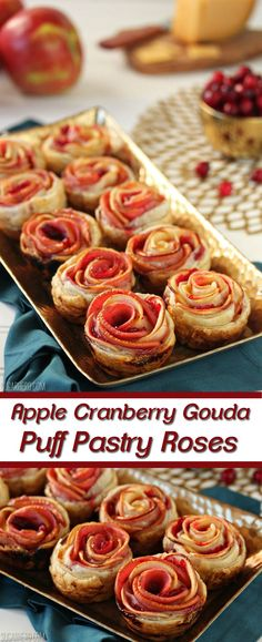 Apple Cranberry Gouda Puff Pastry Roses are an easy, elegant appetizer that can also double as dessert. Köstliche Desserts, Delicious Desserts, Dessert Recipes, Yummy Food, Gluten Free Puff Pastry, Puff Pastry Recipes, Tapas, Finger Food Appetizers, Appetizers For Party