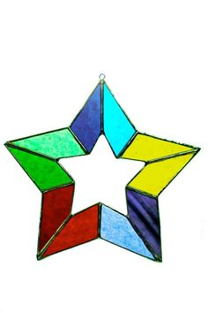 """This beautiful, stained glass, rainbow star was lovingly hand-made in Cleveland, OH.    Measures about 5.75"""" diameter.   Stained-Glass Rainbow Star by Girlfriends & Glass. Home & Gifts - Home Decor - Decorative Objects Cleveland, Ohio"""