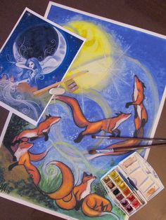 Le Volpi e la Luna Stampa da Dipinto Originale