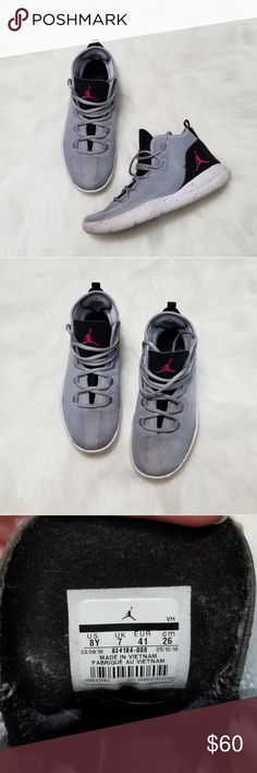 6639e80bc522 Nike Air Jordan Reveal GG shoes Wolf Grey and black with pink Jordan symbol  Gently used One scuff shown in last photo Nike Shoes Sneakers
