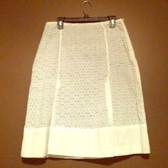 White Eyelet Skirt w/black lining Classy white skirt, perfect for summer time! Barely worn! Side zipper and button closure, black lining. Grace Dane Lewis Skirts