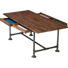 hearty table | CB2 So cool to have a few drawers for multi tasking dining/study/working tables.