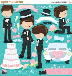 80% OFF SALE Wedding groom clipart commercial use wedding