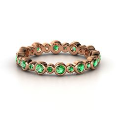 18K Rose Gold Ring with Emerald   Heartbeat Band   Gemvara