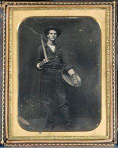 Captain Loring N. Shaw posing as a gold miner, circa 1851. P85-001.1 daguerreotype.