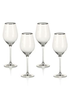 Buy the 4 Pack Maxim Platinum White Wine Glasses from Marks and Spencer's range. White Wine Glasses, Champagne Flutes, Interior Accessories, Find Art, Red And White, Art Deco, Christmas Decorations, Gifts, Ireland