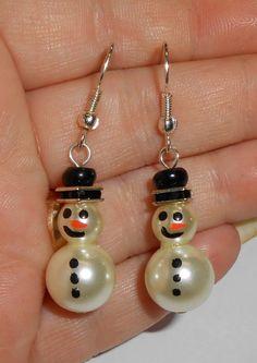 Christmas Earrings Snowman Earrings Holiday by TRLTJewelry on Etsy, $15.00