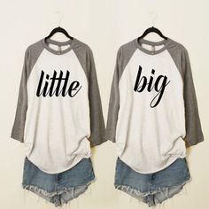 This is for 2 baseball raglan shirts. Sweet baseball raglan style top with little and big black font. Please leave color and size at checkout