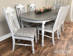 7 Piece Oval Dining Set in Annie Sloan Chalk Paint in Pure White and French Linen and Black Wax by Originally Worn