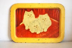 Antique Old Original Baby Cat Print Litho Tin Serving Tray