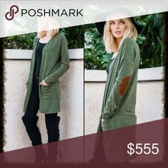 Long Green Cardigan with Elbow Patches Two tone hacci long cardigan featuring side slits and suede elbow patch. Sweaters Cardigans