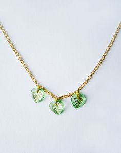 Image of Leaf It To Me Glass Vintage Leaves Necklace