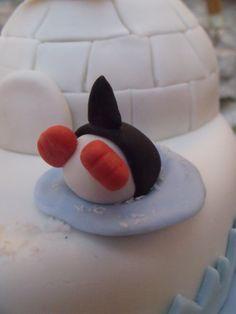 Pingouin plongeant en pâte à sucre
