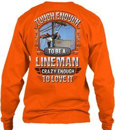 Awesome Lineman Shirt Safety Orange T-Shirt Back Lineman Love, Power Lineman, Lineman Shirts, Funny Posters, Orange T Shirts, Shirt Ideas, Firefighter, Epoxy, Appreciation