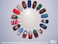 Christmas nail art wheel 1: snowflakes, lights, Christmas tree, sweater, plum pudding, candy, reindeer, Santa's beard, hat, snow, candy cane, elf, Christmas lights