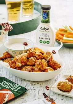 Cauliflower gets fancy when it's tossed with gluten-free panko-style bread crumbs, roasted with buffalo sauce and dipped in our Blue Cheeze Dairy-Free Dressing. Great as an appetizer or side! Get the recipe. Cauliflower Buffalo Wings, Good Food, Yummy Food, Dairy Free, Gluten Free, Food Is Fuel, Appetizers For Party, Diabetes Food, Gestational Diabetes