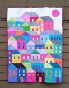 etsy Spellbound Quilt Art pattern Hillside Houses on Craftsy