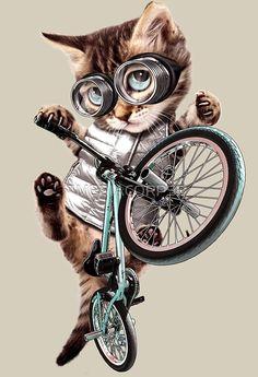 « ¡Todos en tu familia aman al gato!» de MEDIACORPSE | Redbubble Arte Digital Fantasy, Rick And Morty Poster, Funny Animals, Cute Animals, Bike Sketch, Elephant Canvas, Bicycle Art, Cycling Art, Cat Love