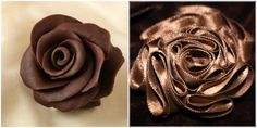 Left: Edible Chocolate Rose Right: Wearable Chocolate Rose