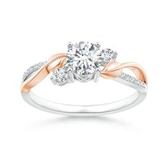 Three Stone Diamond Twisted Vine Ring in 14K White and Rose Gold (Color: G, Clarity: VS2, Weight: 0.58ctwt) *** For more information, visit image link. (This is an affiliate link)