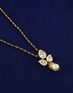 Latest Long Mangalsutra Designs: Fancy Diamond Mangalsutra for Women Online Diamond Mangalsutra, Gold Mangalsutra Designs, Gold Earrings Designs, Indian Jewelry Earrings, Pendant Jewelry, Beaded Jewelry, Gold Chain Design, Gold Jewellery Design, Light Weight Gold Jewellery
