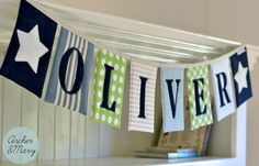 Custom Boy's Name Bunting - Blue, Green, Linen, Indigo Denim and White