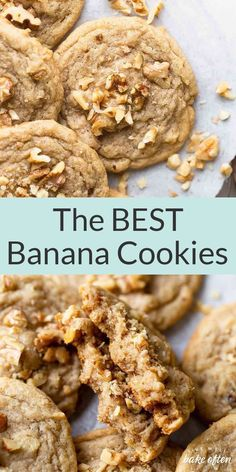 These banana cookies from Live Well Bake Often taste like your favorite banana bread, but in cookie form! Feel free to omit the nuts or swap in chocolate chips. They're easy to make, use ingredients you likely have on hand already, and share the same flavors as your favorite banana bread recipe! Try these delicious banana cookies today! Dessert From Scratch, Cookie Recipes From Scratch, Healthy Cookie Recipes, Fun Baking Recipes, Banana Recipes, Recipes From Heaven, Healthy Cookies, Paleo Sweets, Brownie Recipes