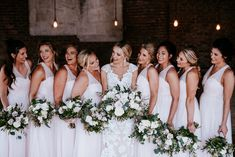 Cute Wedding Photography ideas, industrial wedding venues, industrial wedding ideas, white and blush wedding flowers, organic styled bouquets, bridal bouquets with greenery, white and blush bridal bouquets, Florals: Wildflowers LLC, Photography: Eden Ingle, Venue: One Cannery