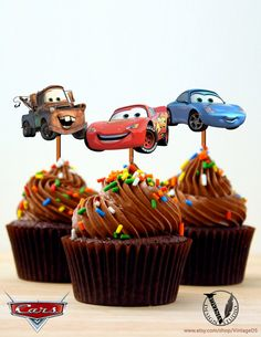 Disney Cars Birthday party Cupcake Toppers Images 2.5x2.8 inch digital file girl boy Printable DIY Lightning McQueen Mater Sally Carrera on Etsy, $4.99