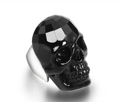 You are looking at a Black Onyx skull ring. The forehead of the skull is faceted. Viking Jewelry, Stone Jewelry, Black Skulls, Skull Jewelry, Crystal Skull, Sterling Silver Rings, Fashion Jewelry, Carving, Gemstones