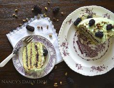 Nancy's Daily Dish: Nancy's Pistachio Almond Cake w/ Blackberry Filling & Pistachio Cream Cheese Frosting