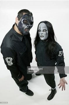 Photo of SLIPKNOT and Paul GRAY and Joey JORDISON; (#2) Paul Gray and (#1) Joey Jordison - posed, studio