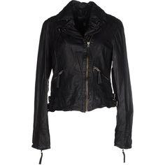 Muubaa Jacket ($395) ❤ liked on Polyvore featuring outerwear, jackets, black, zipper leather jacket, zip jacket, leather lapel jacket, leather jacket and zipper jacket
