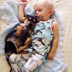 これは可愛すぎる!毎日一緒にお昼寝をする幼児と子犬の写真15枚