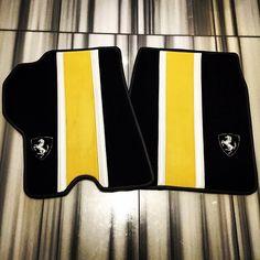 ferrari 458 white yellow and black interior floor mats