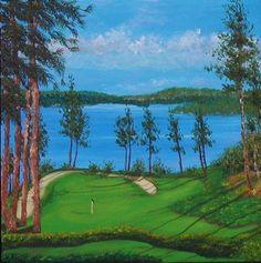 Oil Painting Coeur D'Alene golf course sand traps by PatAdamsArt, $199.00