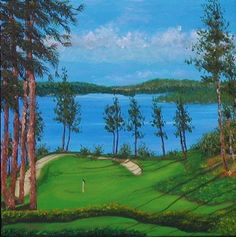 Oil Painting Coeur D'Alene golf course sand traps by PatAdamsArt, $199.00