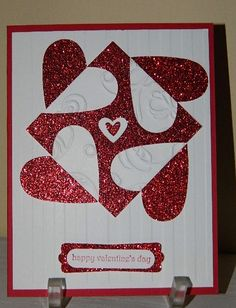 handmade Valentine card ... clever yin/yang type design with hearts ... luv that red glitter paper!!!