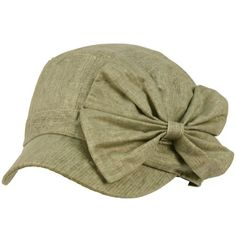 Cool Summer Big Ribbon Bow Military GI Castro Cadet Cabbie Elasitc Cap Hat Gray $16.95