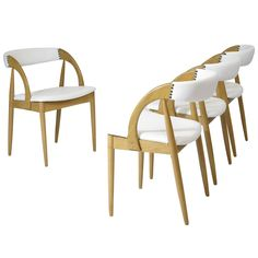 Four White Oak Dining Chairs in White Leather